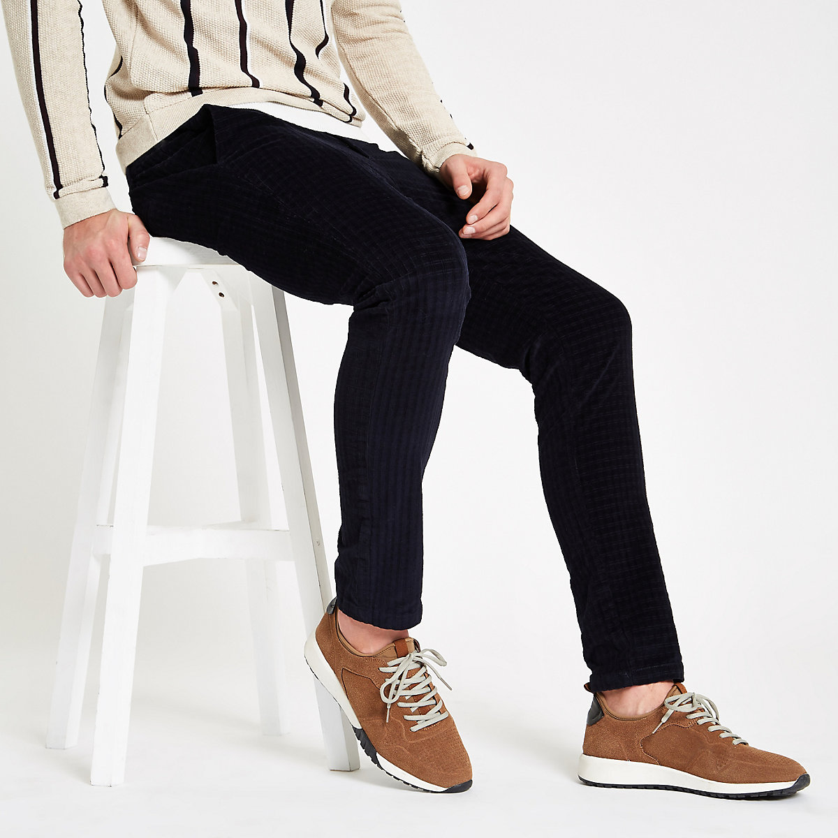 Navy cord check skinny fit pants