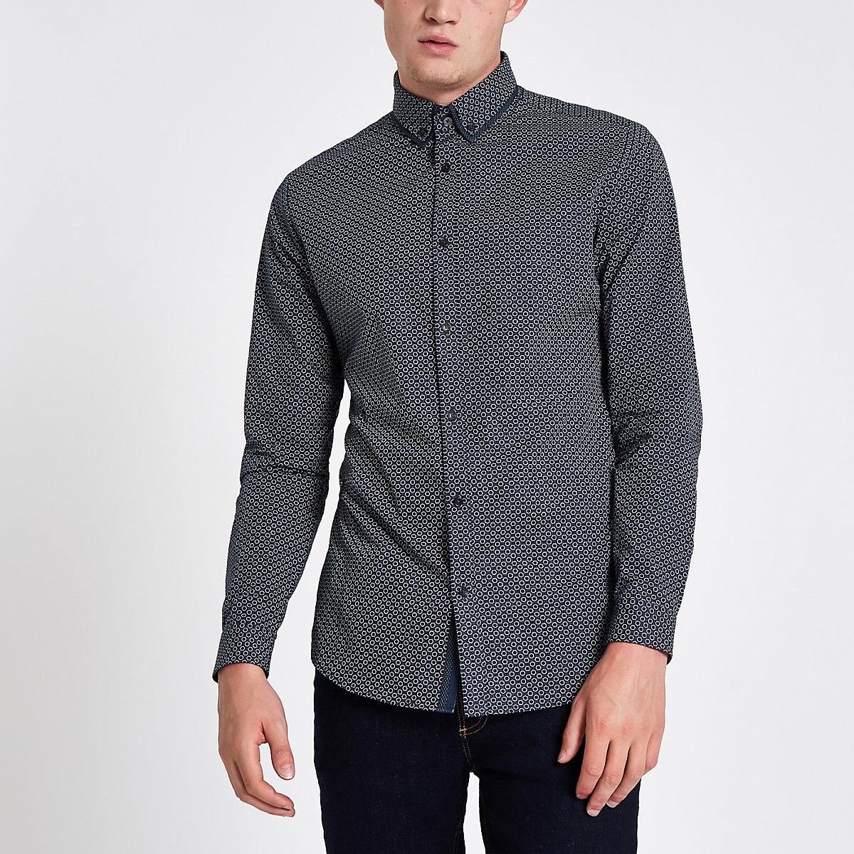 Navy tile print double collar shirt