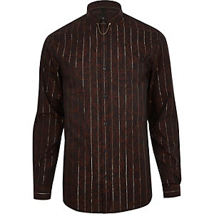Brown jacquard metallic stripe shirt