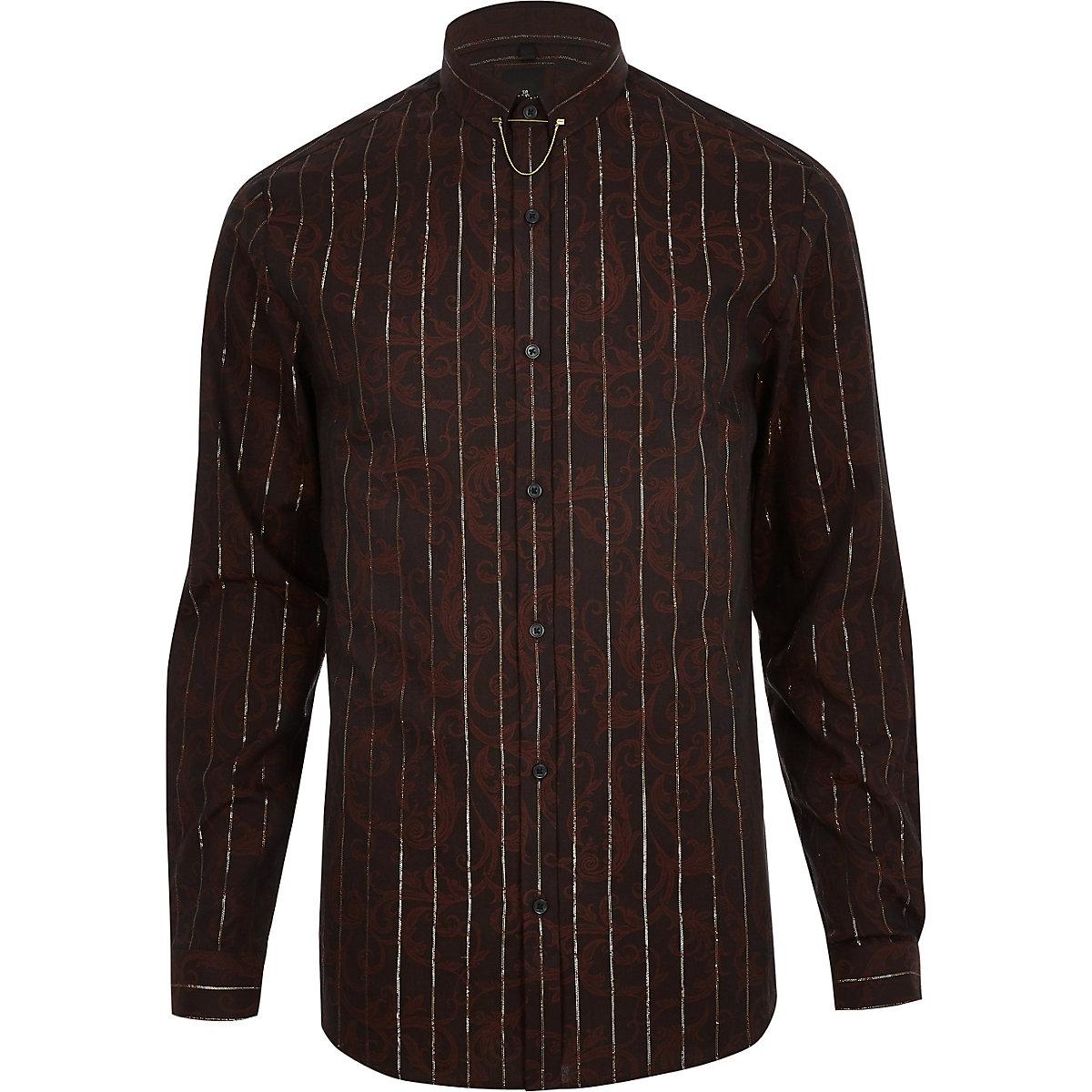 Brown jacquard metallic stripe shirt