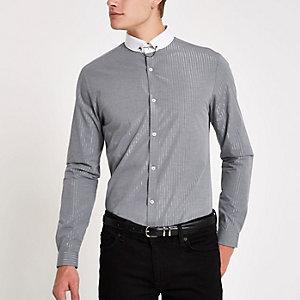 Chemise rayée gris métallisé à manches longues