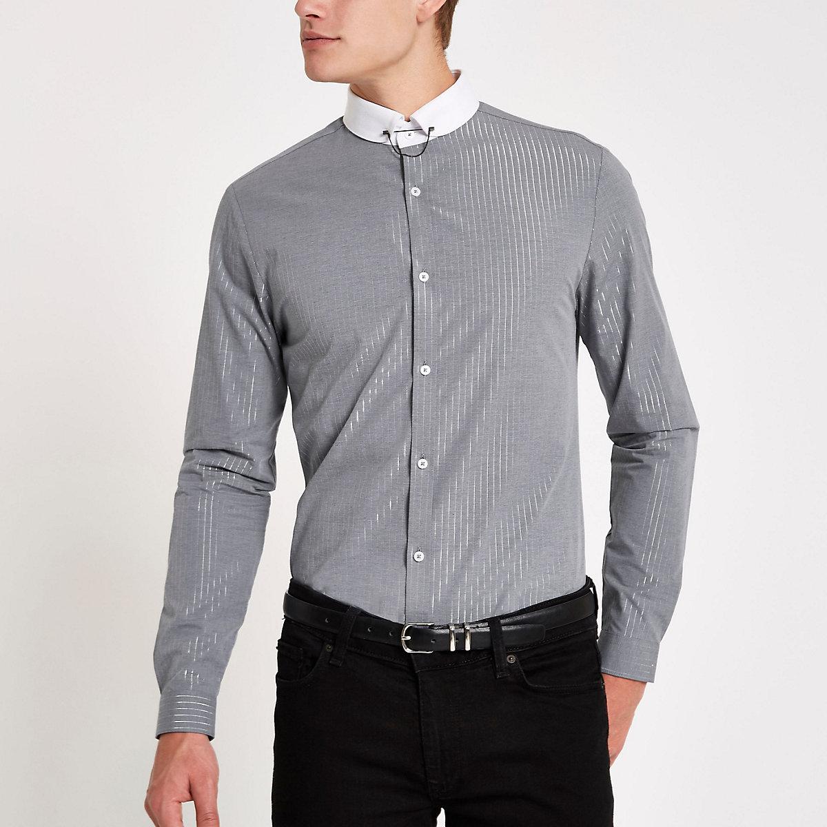 Grey metallic stripe long sleeve shirt