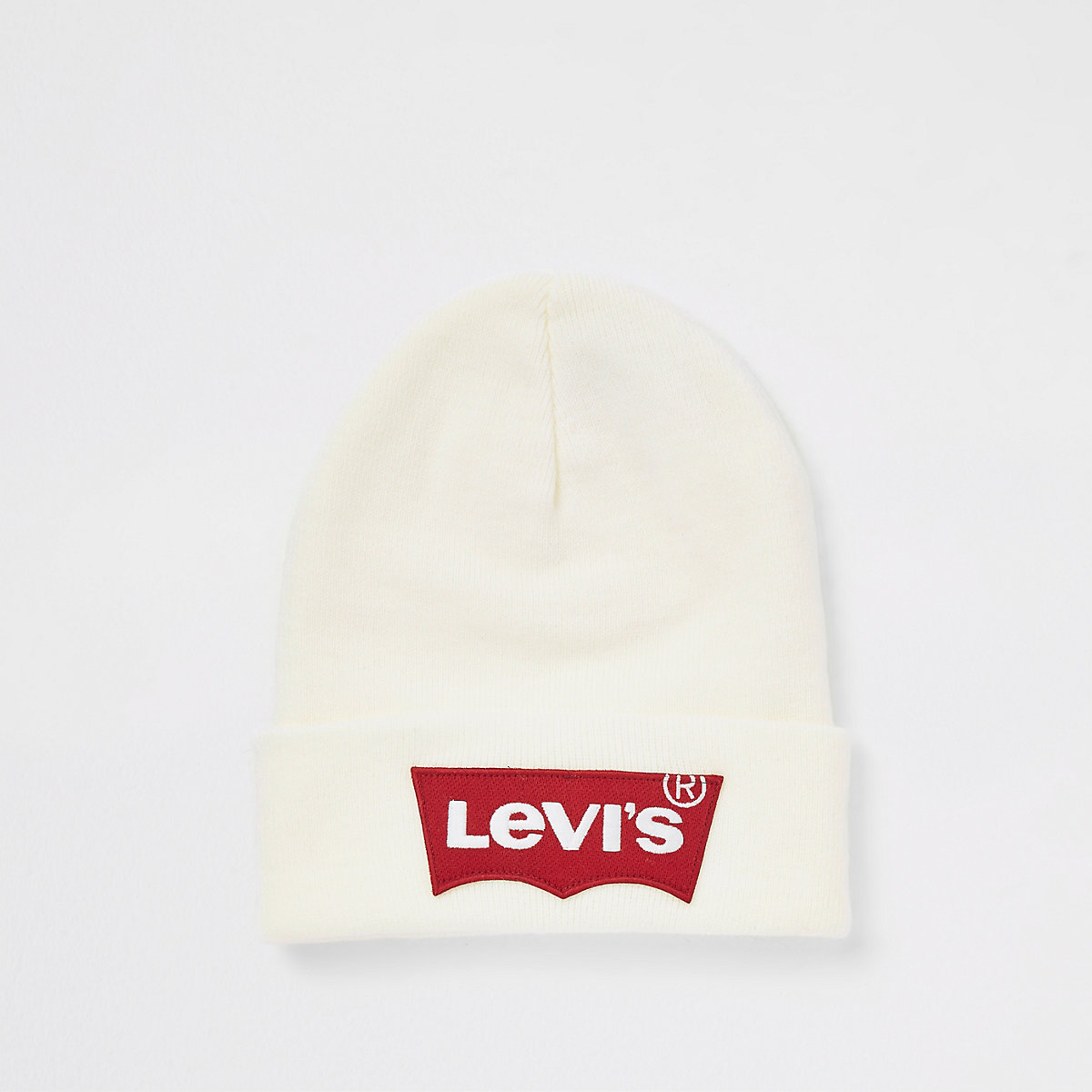 Levi's white ribbed knit beanie hat