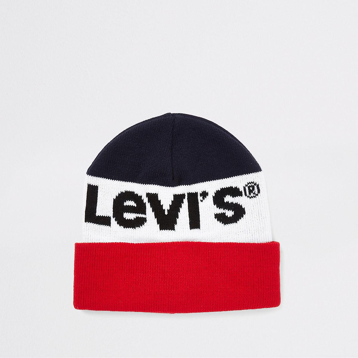 Levi's navy colour block beanie hat