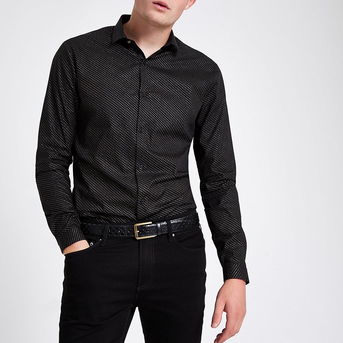 Black glitter spot print button-up shirt