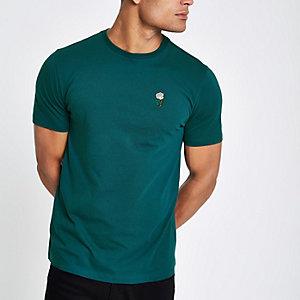 Blauwgroen slim-fit T-shirt met geborduurde roos