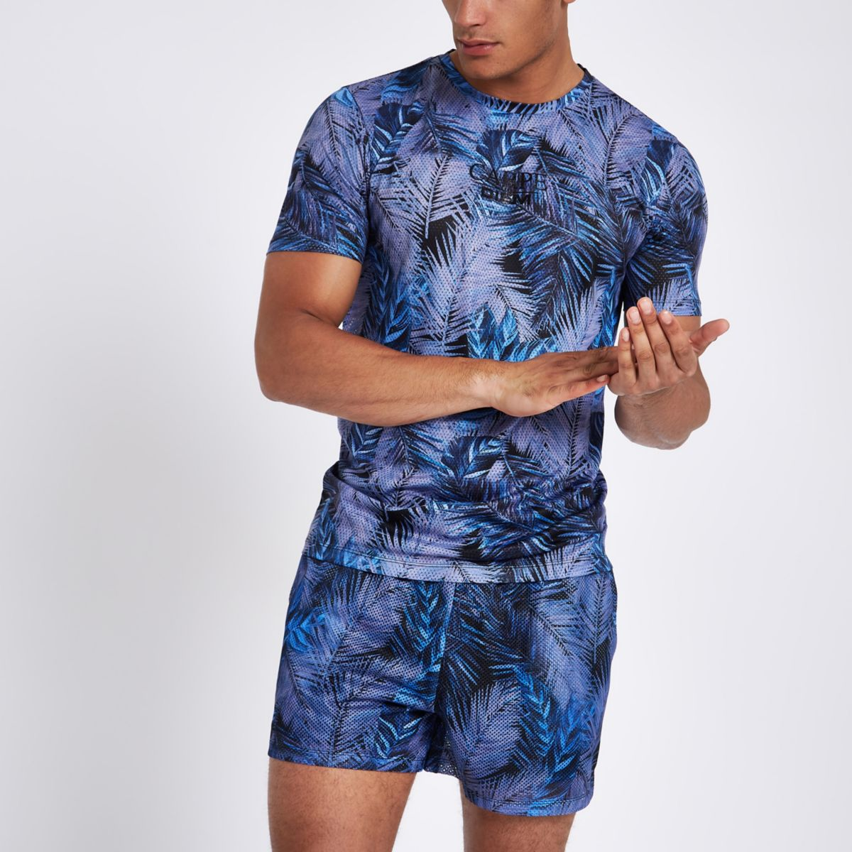 Blue palm print slim fit mesh T-shirt