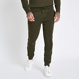 Donkergroene slim-fit joggingbroek