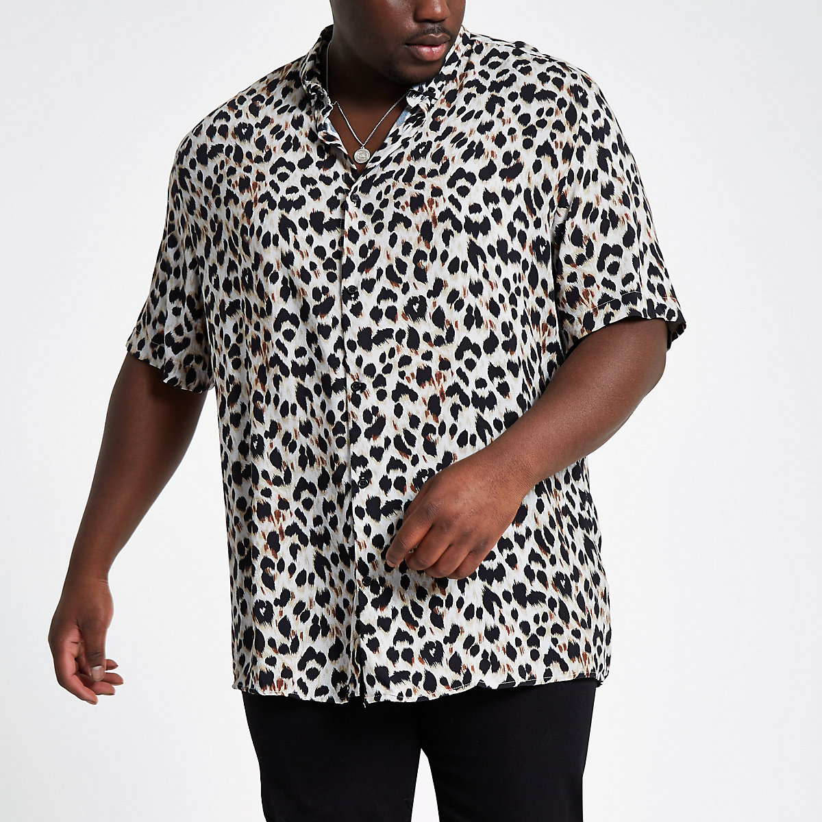 Big & Tall – Graues Hemd mit Leopardenmuster