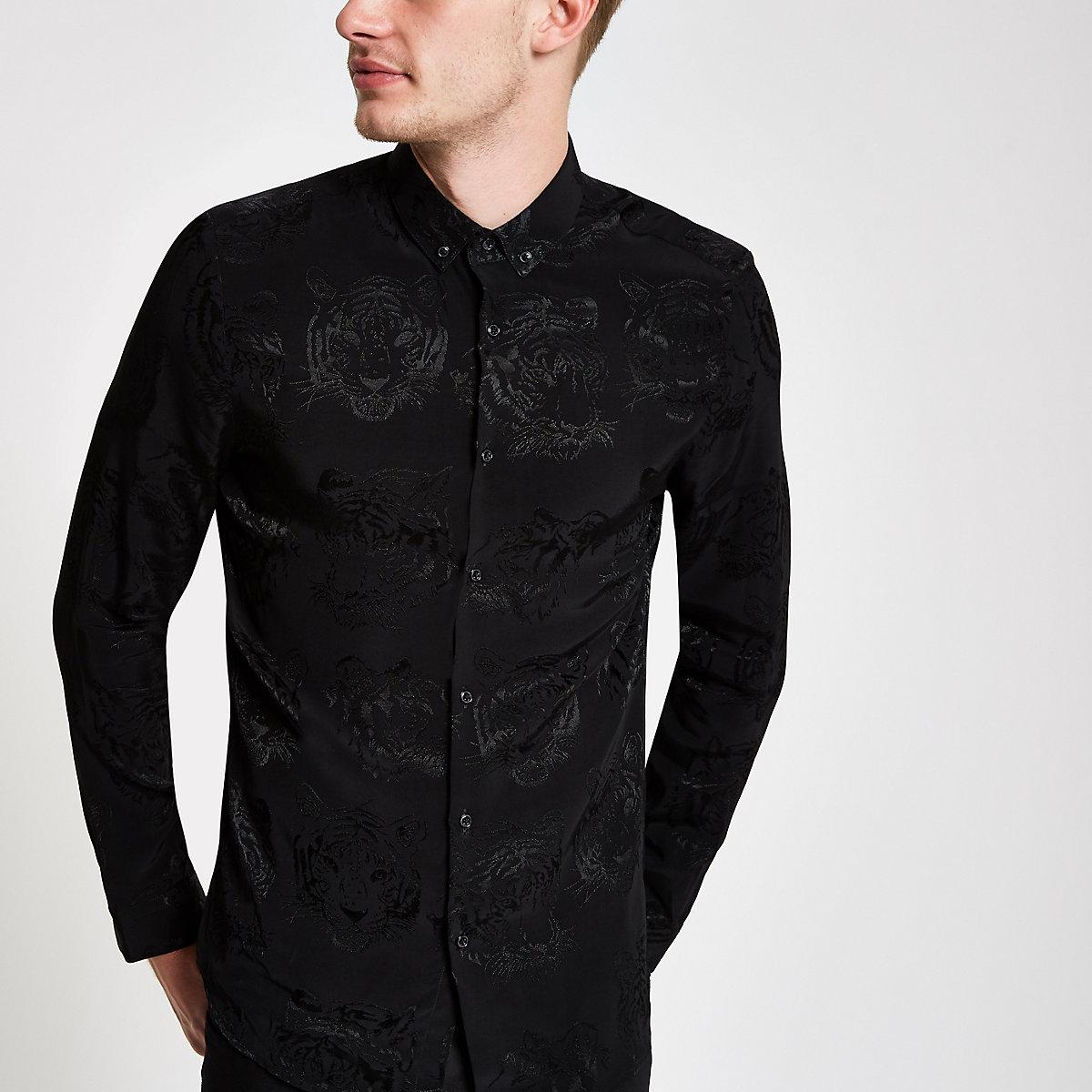 Black tiger print button-down collar shirt