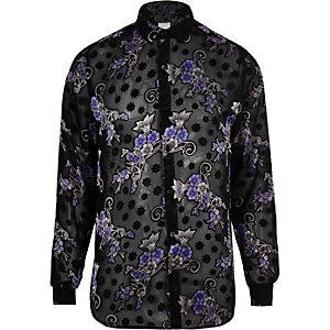 Zwart overhemd met bloemenprint en lange mouwen