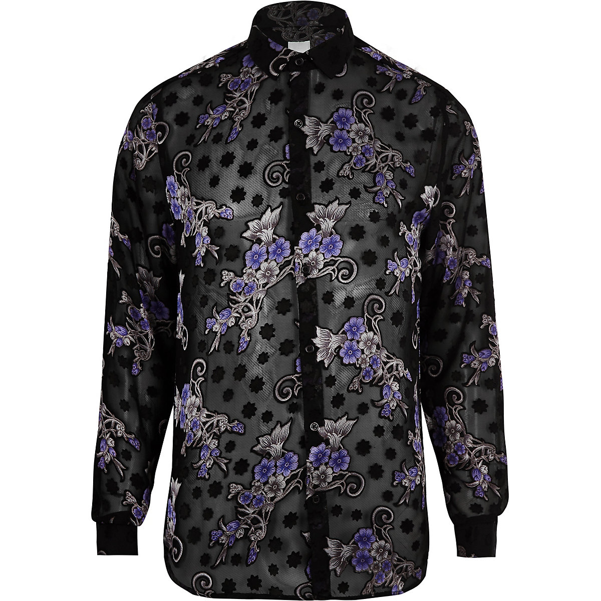 Black floral print long sleeve shirt
