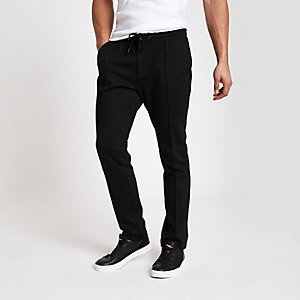 Black skinny fit jogger trousers