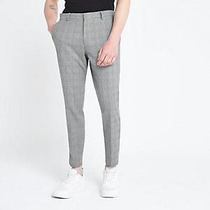 Black check print skinny fit smart pants