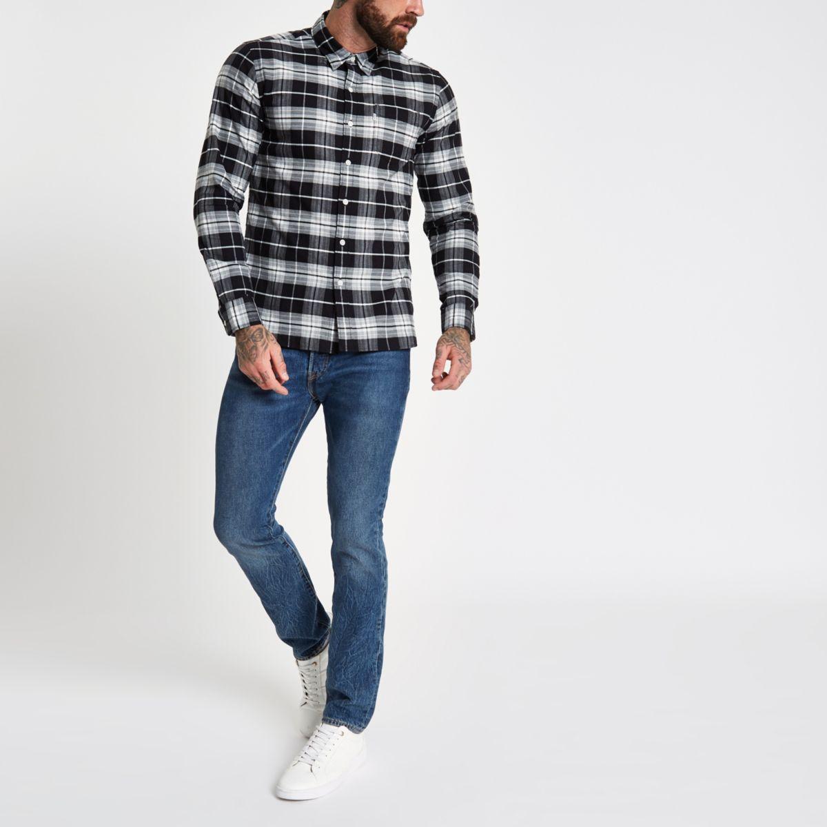 check sleeve grey shirt Levi's long wSXRqn7f