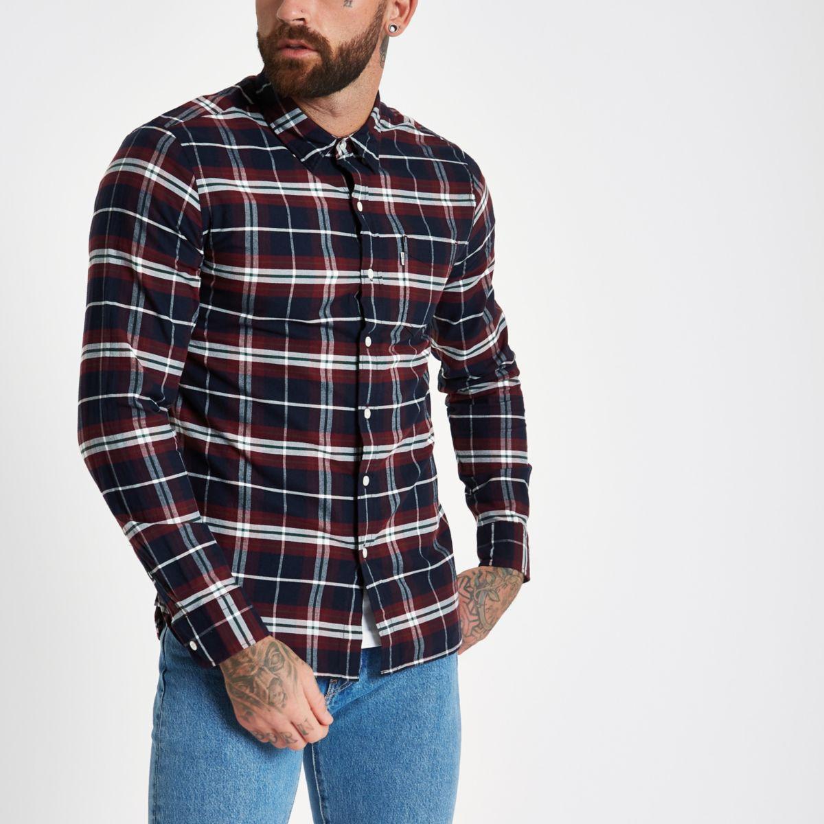 Levi's purple check shirt