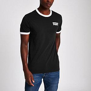 Levi's - Zwart T-shirt met contrasterend logo en ronde hals