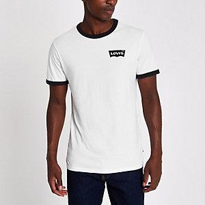 Levi's - Wit T-shirt met contrasterend logo en ronde hals