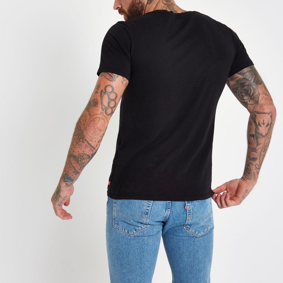 logo T neck shirt crew Levi's chest black 4nqgEU