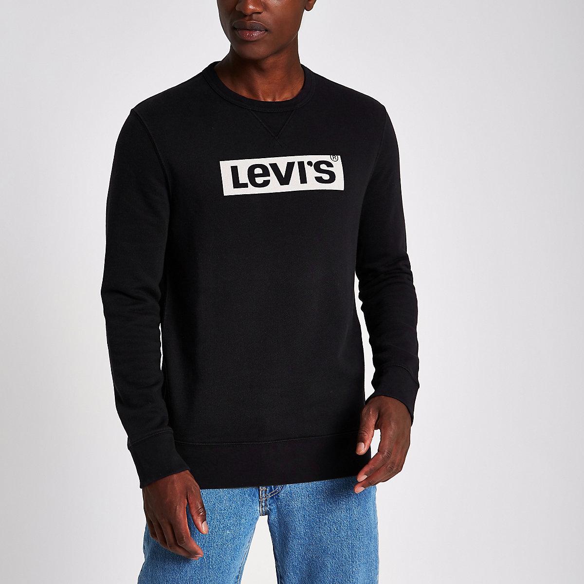 Levi's black long sleeve logo sweatshirt