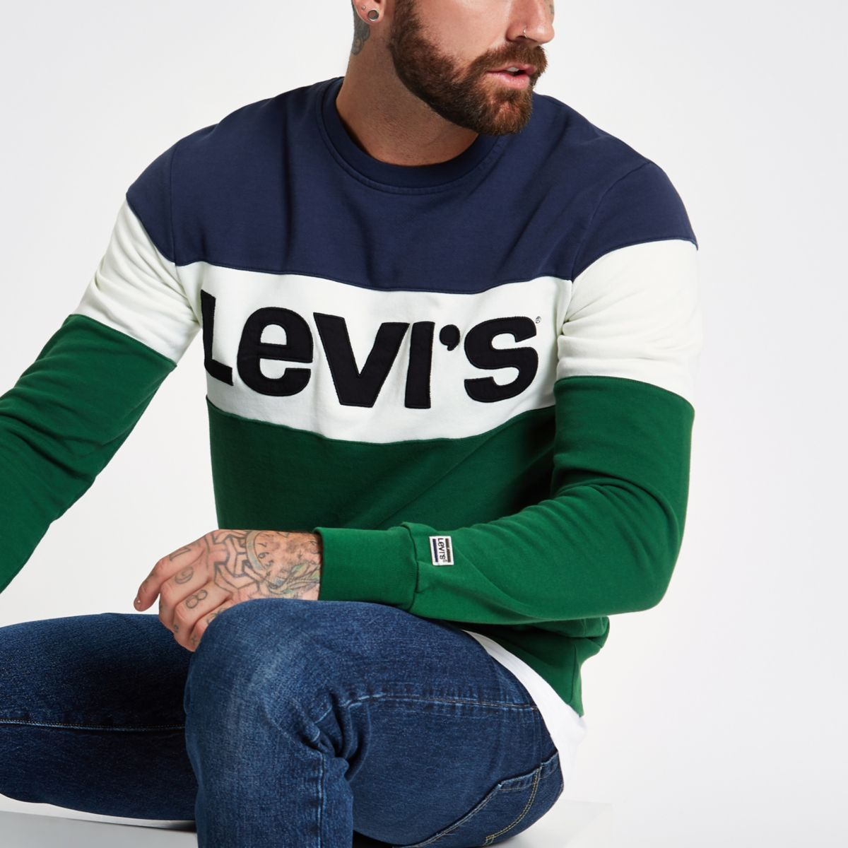 Levi's green color block sweater