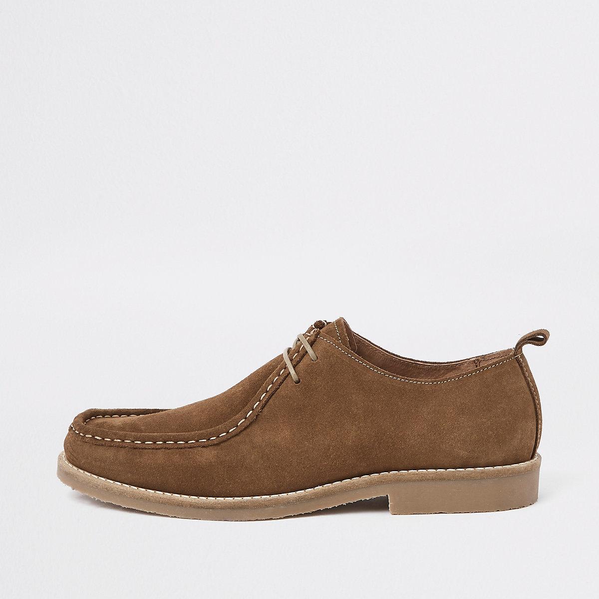 Dark brown suede moccasin shoes
