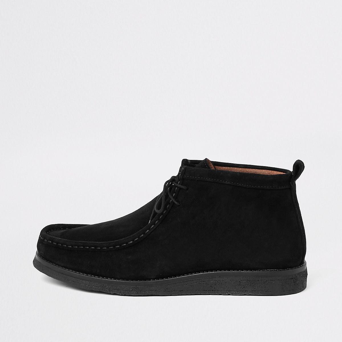 Black suede lace up moccasin boot