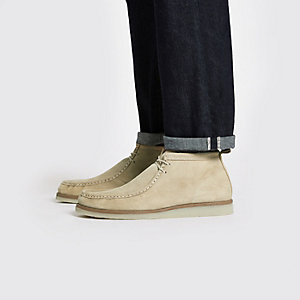 Stone suede lace up moccasin boot