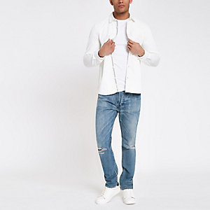 Levi's 501 light blue ripped skinny jeans