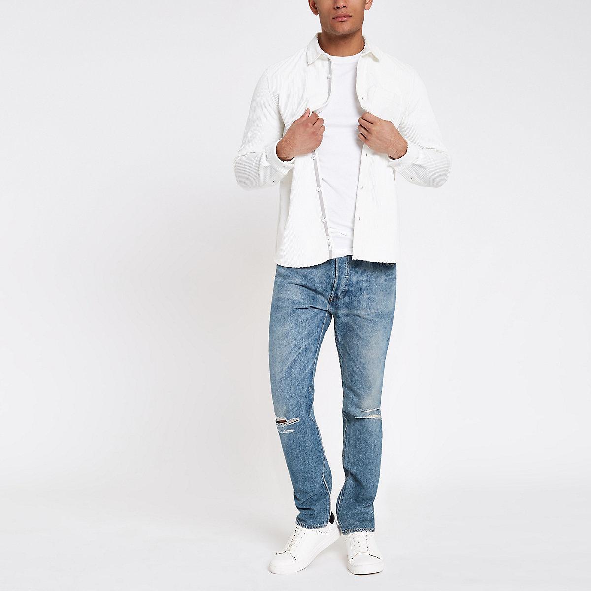 Levi's 501 light blue ripped skinny jeans