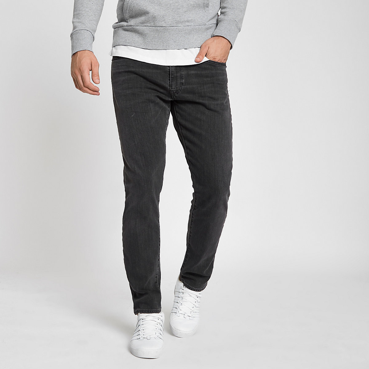 Levi's 512 dark grey slim taper fit jeans