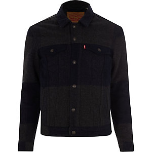 Levi's grey wool plaid trucker jacket