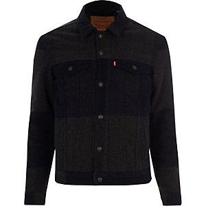 Levi's – Veste camionneur en laine motif écossais grise