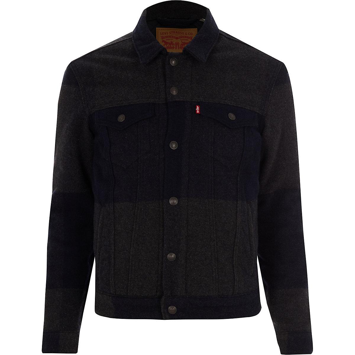 Levi's grey wool plaid trucker jacket