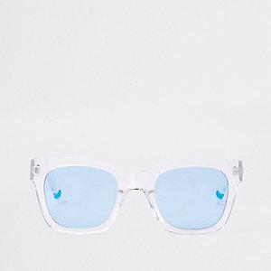 Lunettes de soleil à demi-monture blanc transparent avec verres bleus