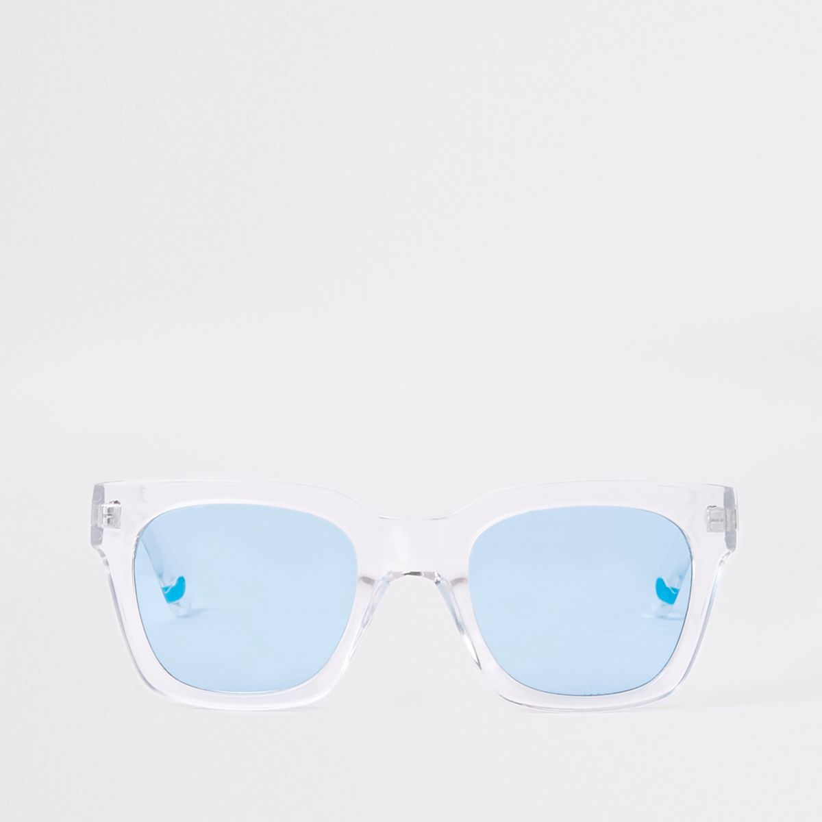 White clear frame blue lens sunglasses - Sunglasses - Sale - men