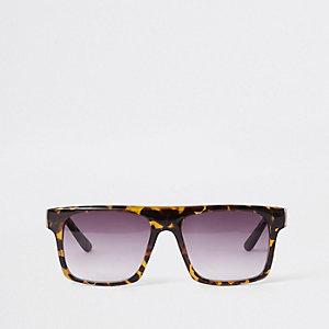 Lunettes de soleil motif écailles de tortue marron à verres fumés