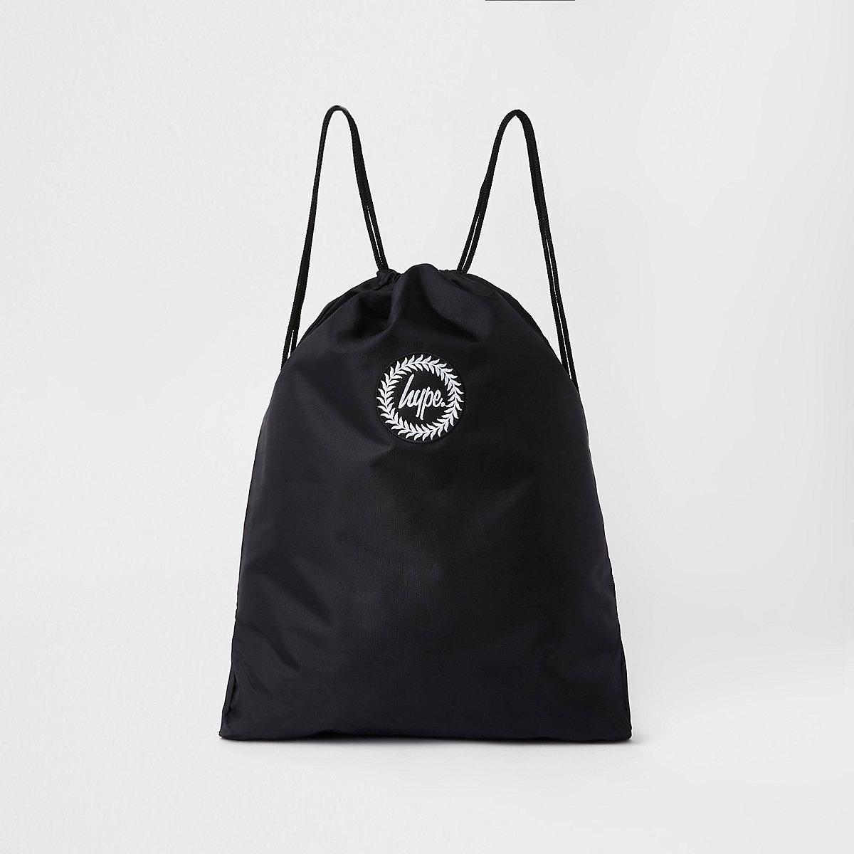 Hype black embroidery drawstring bag