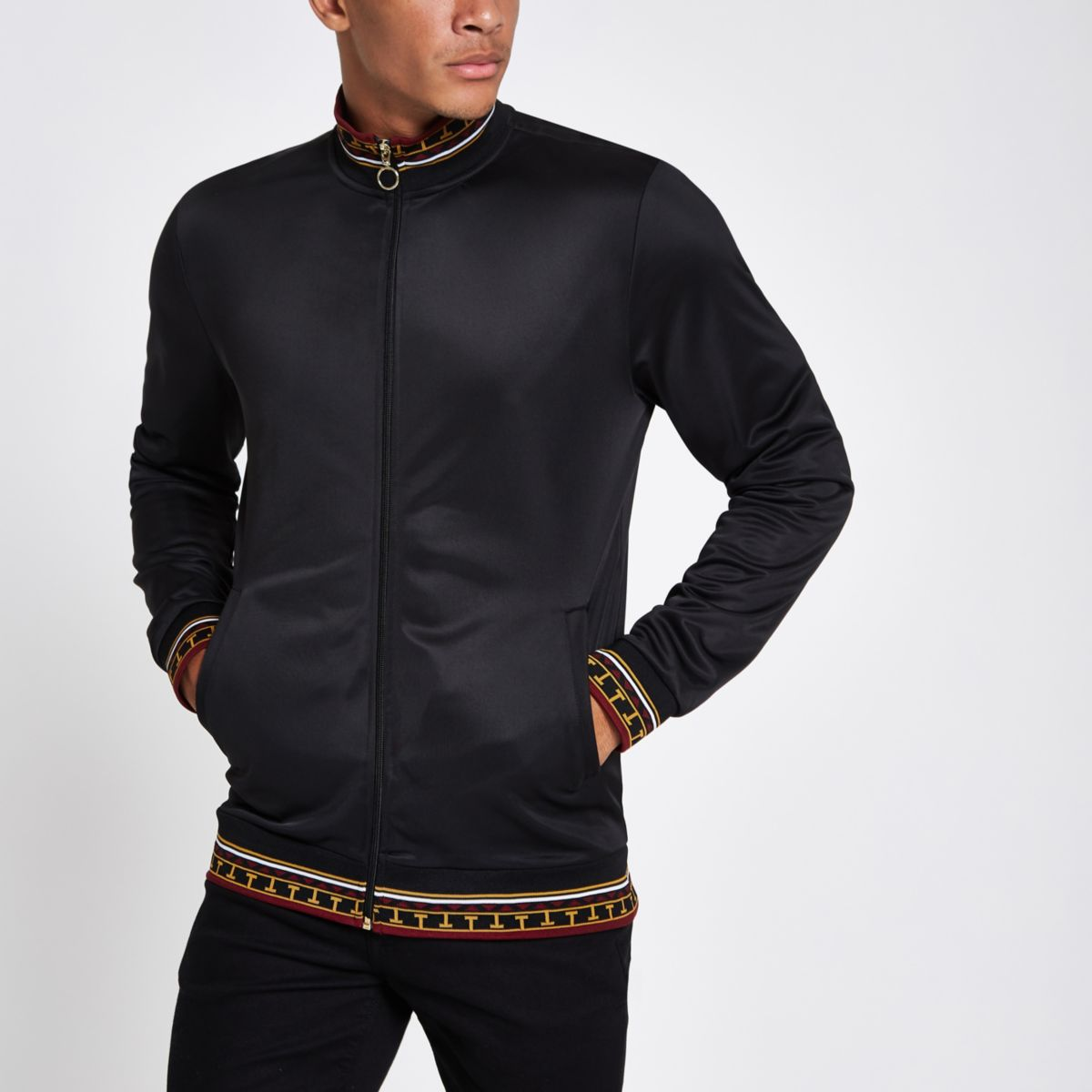 Black slim baroque print trim track jacket