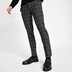Pantalon super skinny à carreaux bleu marine