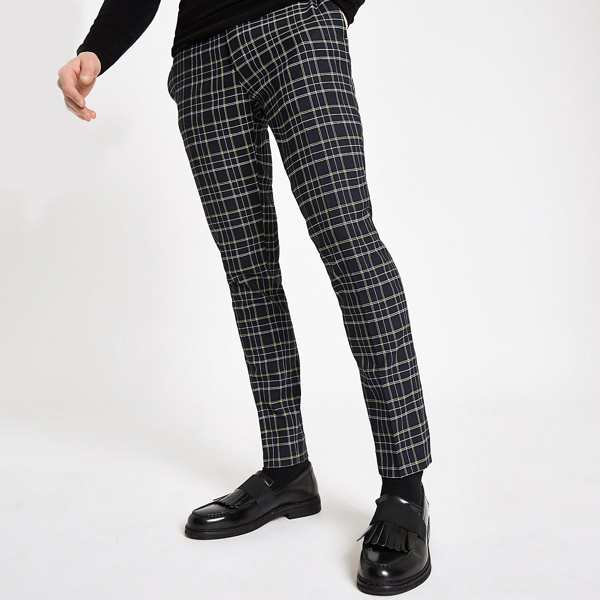 Navy check super skinny trousers