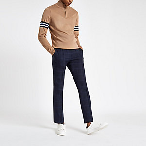 Navy check skinny smart jogger trousers