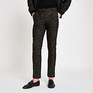 Green camo skinny fit smart trousers
