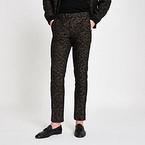 Groene skinny-fit nette broek met camouflageprint