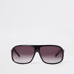 Black visor smoke lens sunglasses