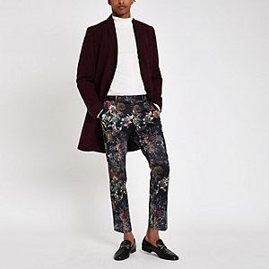 Pantalon skinny court habillé à fleurs noir