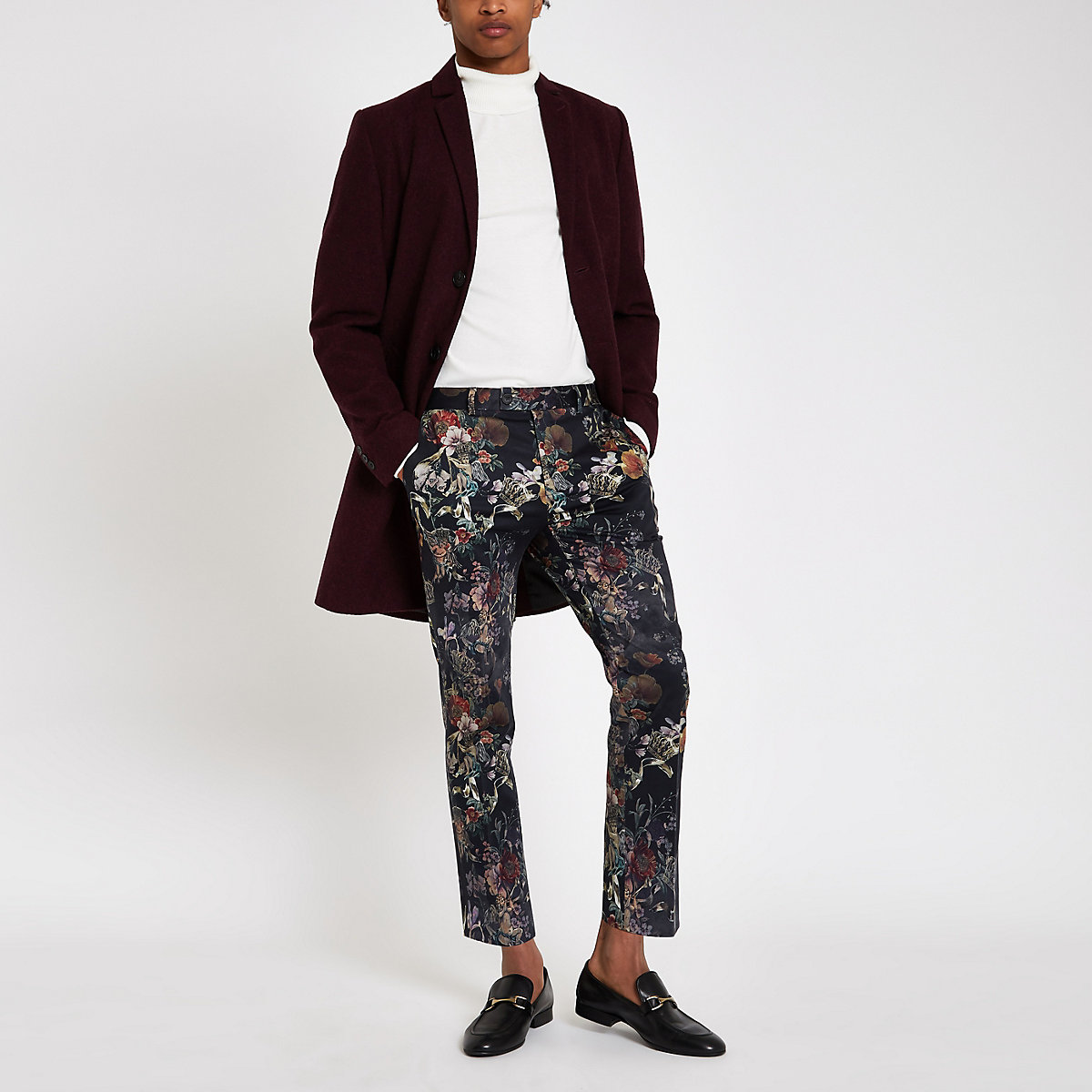 Black floral skinny cropped smart trousers