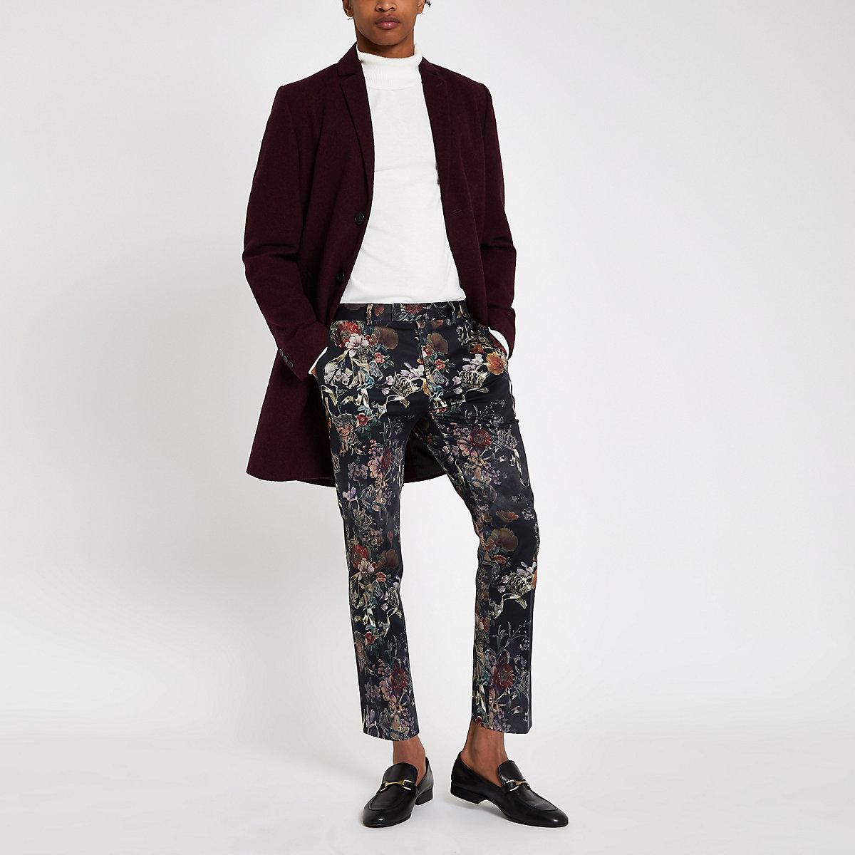 Black floral skinny cropped smart pants