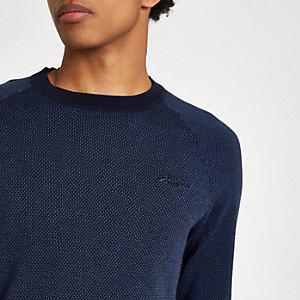 Superdry - Marineblauwe pullover met geborduurd logo