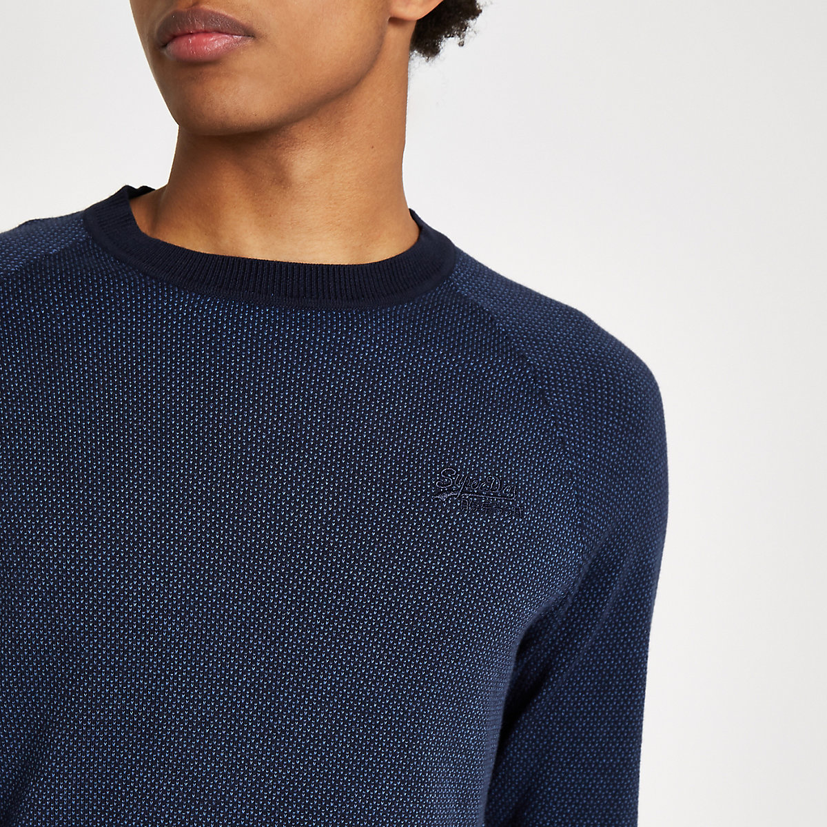 Superdry navy logo embroidery sweater